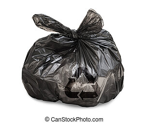 Black tied garbage bag with recycle symbol on white