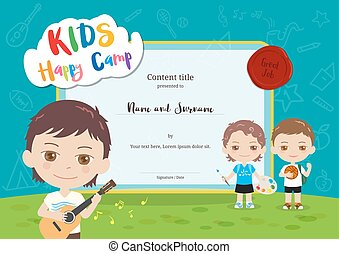 Colorful kids summer camp diploma certificate template in cartoon style with various children activities music, painting and sport