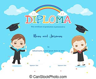 Colorful kids diploma certificate template in cartoon style with rainbow and sky background, boy and girl holding diploma and wearing academic dress and graduation cap