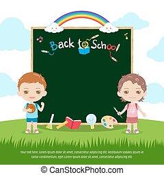 CÙte, Schule, regenbogen, bunte, Junge, Tafel, himmelsgewölbe, zurück, tafelkreide, m�dchen, grün, Brett,  Banner, oder