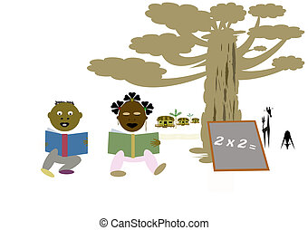 school - African children to school under the baobab