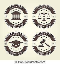 Lawyer bureau emblems and labels