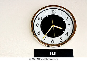 Fiji Time - A clock on the wall show Fiji Time in hotel....
