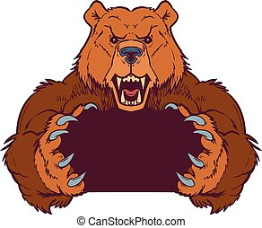 Brown Bear Mascot Holding with Claws Vector Template -...