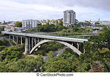 Grafton Road Bridge Auckland New Zealand - Urban aerial...