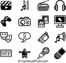 media icons - A series set of icons relating to various...