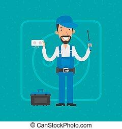 Repairman repairing electrical equipment - Illustration,...