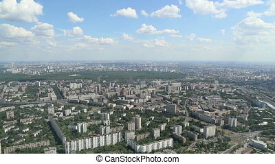 Spectacular aerial view (340 m) of Moscow, Russia. View from...
