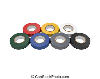 Duct tape Isolated on White Background, 3D rendering,...