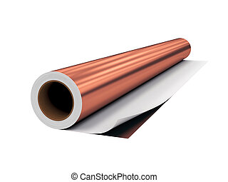 roll PVC film, Isolated on White Background, 3D rendering,...