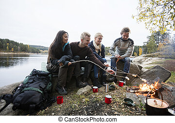 Young Friends Roasting Marshmallows Over Campfire - Young...