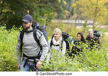 Hiking Friends Walking Amidst Plants In Forest - Young male...