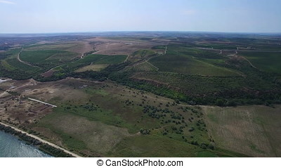 Aerial view of Danube river vineyards