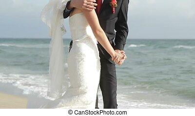 Wedding couple on the beach.