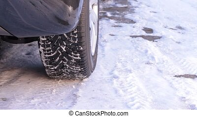 Winter tire on snow 1920x1080p HD video (with sound)