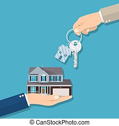 Businessman hands giving key for house