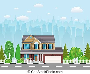 Private suburban house with trees, cityscape, sky and...
