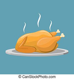 Fried chicken or turkey isolated. illustration in flat style