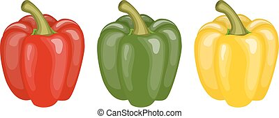 Yellow, red and green pepper.