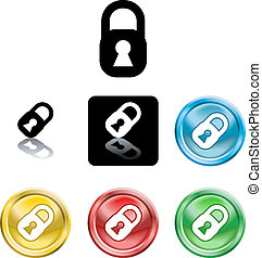 Padlock icon symbol - Several versions of an icon symbol of...