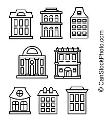 Isolated black and white color low-rise municipal houses in...