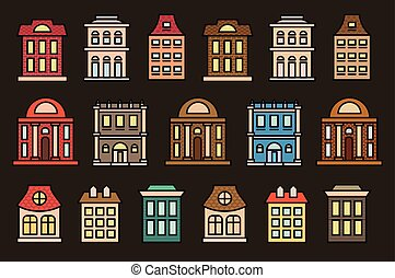 Isolated colorful low-rise municipal houses in lineart style...