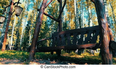 Bench in the woods (Russia)