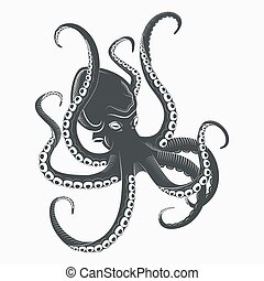 Ocean Octopus or sea octopoda with tentacles - Cartoon...