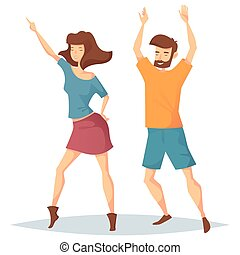 Man and woman dancing at music club or disco