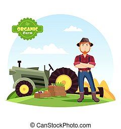 Farmer near vegetables on farm and tractor - Farmer man in...