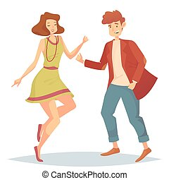 Woman jumping at dancefloor and man dancing - Man in jacket...