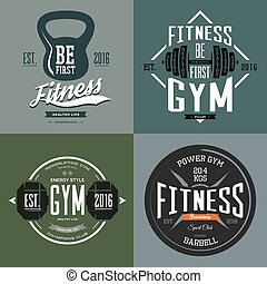 Dumbbell and barbell, poise and rod sport signs - Fitness...
