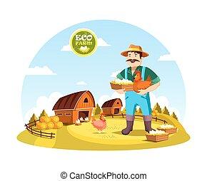 Cartoon farmer man holding eggs and hen - Eco farm with...