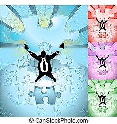 jigsaw business concept illustration - A business man...