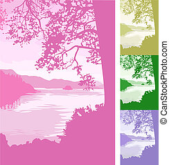 lake background Illustration - A beautiful lake scene...