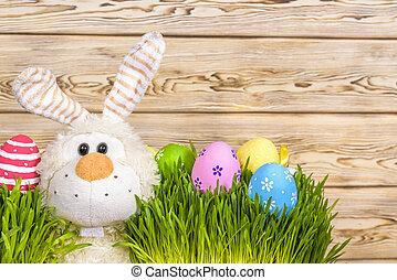 wenig, spielzeug, Eier, kaninchen, gras, grün, Ostern, begriff