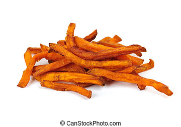 Sweet potato fries - Pile of sweet potato or yam fries...