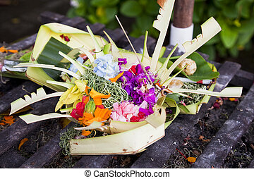 Prayer Offerings at Pura Petitenget, Bali, Indonesia - Image...