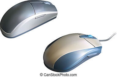 Computer Mouse - Vector illustrations of two computer mice