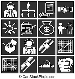 business icon set - Icons or design elements related to...