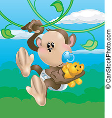cute monkey illustration - A cute baby monkey swinging...