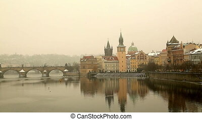 View at The Charles Bridge and Vltava river in Prague, Czech...