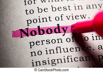 nobody - Fake Dictionary, Dictionary definition of the word...