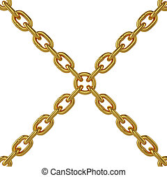 gold chain isolated on white background, 3d rendering,...