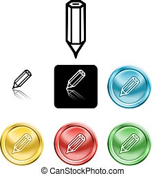 pencil icon symbol - Several versions of an icon symbol of a...