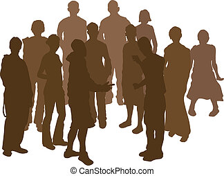 group silhouette - A group of 12 funky young friends Each is...