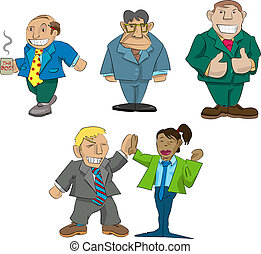 office caricatures - Vector caricatures of office types
