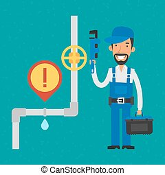 Repairman holding pipe wrench and smiling - Illustration,...