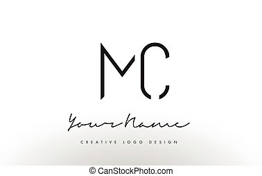 MC Letters Logo Design Slim. Creative Simple Black Letter...