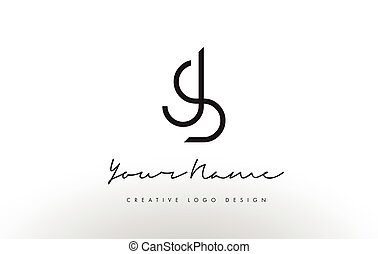 JS Letters Logo Design Slim. Creative Simple Black Letter...